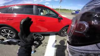 Panicked Driver Throws Car In Reverse  Can This Biker Get Out Of The Way