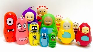 Hidden IN THE NIGHT GARDEN Charms Inside Yo GABBA Gabba and Teletubbies Stacking Nesting Toy Dolls