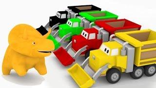 Apprendre les couleurs avec Dino & les trains, camion benne, camion poubelle | dessin animé éducatif