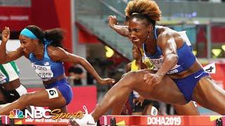 Nia Ali and Keni Harrison take gold and silver in huge 100m hurdle upset | NBC Sports