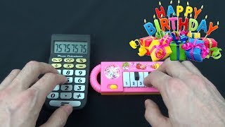 HAPPY BIRTHDAY SONG (1 Dollar Piano VS Cat Piano VS Calculator VS Chicken and Monkey)