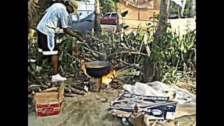 cocinando en la playa monte llano