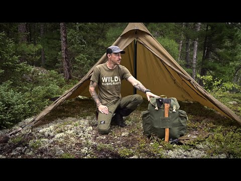 SOLO BUSHCRAFT CAMP IN THE RAIN - New Backpack Giveaway- Catch and Cook - Open Shelter in Bug Season