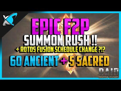 RAID: Shadow Legends | 60 ANCIENT/5 SACRED *F2P* SUMMON RUSH | Rotos Fusion Change ?! | Ep. 10