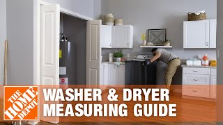 A video demonstrates how to measure washer and dryer dimensions.