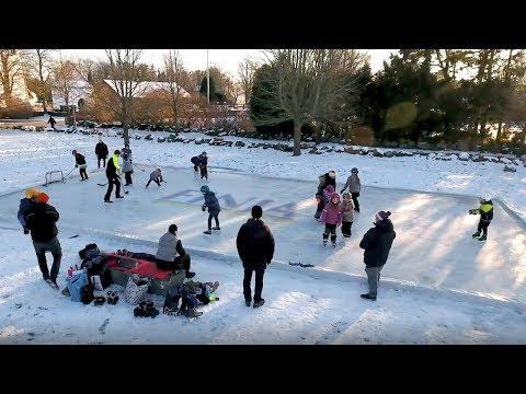 Bygg skøytebane med murblokker for hockey og skøyter no