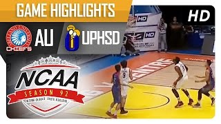 UPHSD vs AU | Game Highlights | NCAA 92 - September 1, 2016