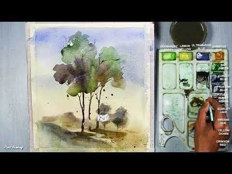 Watercolor Loose Style | Tree Painting step by step
