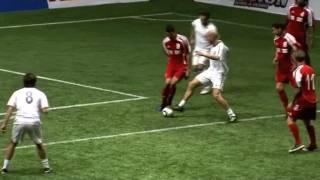 Zinedine Zidane, Luis Figo and Iker Casillas playing in a charity match