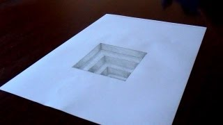 The Original Amazing 3D Hole In Paper Drawing Timelapse - (Tutorial in Description)