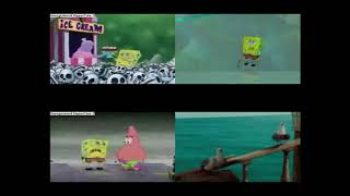 Both SpongeBob movies played side by side forward and reversed at 2 minutes and 30 seconds