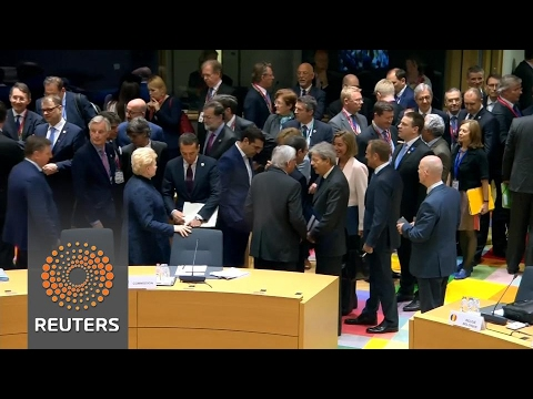 EU leaders agree to a tough stance on Brexit