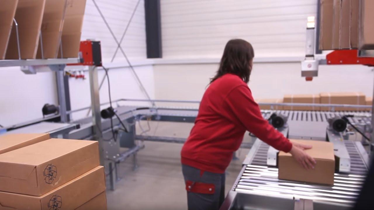 Kartonverschließmaschine mit Bodenklappenfalter