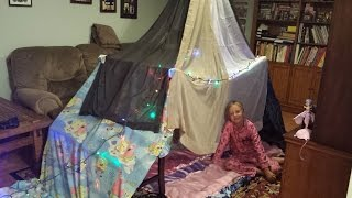 How to build a simple 'n easy indoor blanket fort / tent for 3-4 people