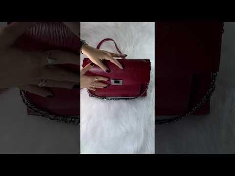 SIENA Bolsa média estruturada couro legítimo lezard vermelha