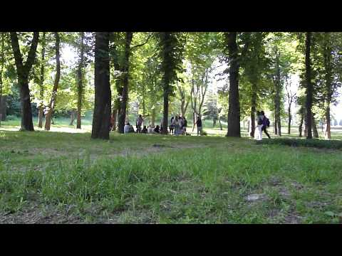 Teens making music in a park in Sumy, Ukraine. Сумы, Украина