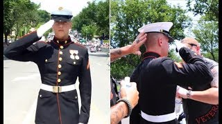 This Wounded Marine Held A Salute For HOURS! What These Patriot Bikers Do Will Give You Chills