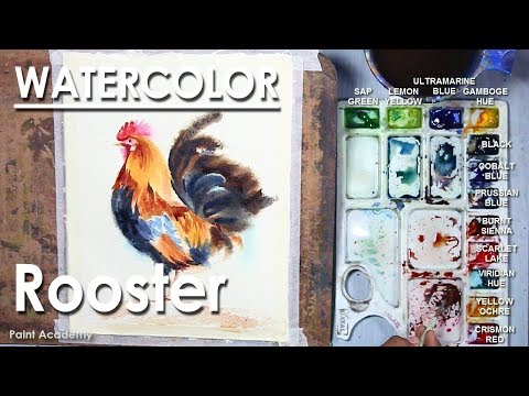Watercolor Rooster Painting | Loose Watercolor style