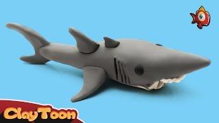 Shark - Polymer clay tutorial |  سمكة القرش - تشكيل صلصال للأطفال
