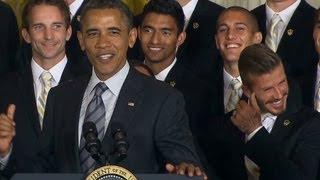 Obama jokes with David Beckham about Underwear Ads