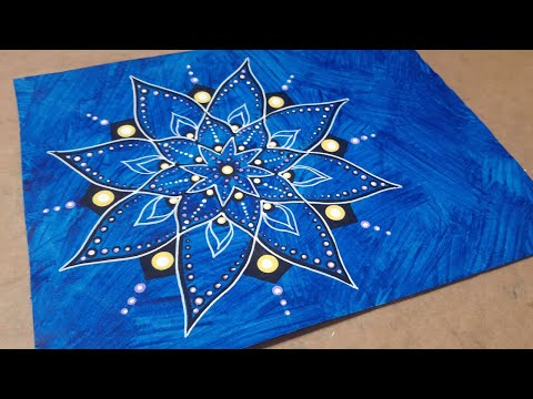 Dot Mandala Drawing on Painted Paper | Acrylic Paint and Paint Pens