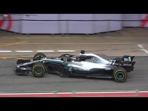 2018 Mercedes W09 Formula 1 - First Shakedown & V6 Hybrid Sound!