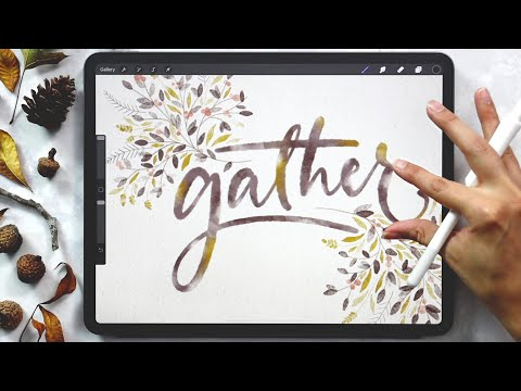 Fall Watercolor Lettering in Procreate