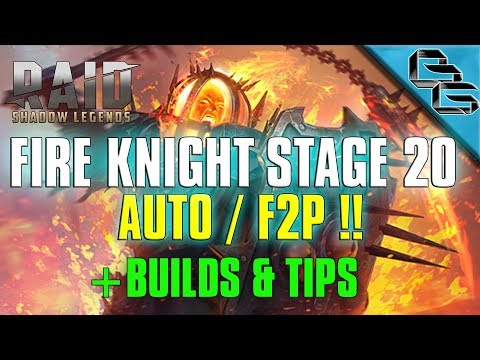 RAID: Shadow Legends | Fire Knight Stage 20 on Auto | + Builds & Tips | Another F2P First !?!?
